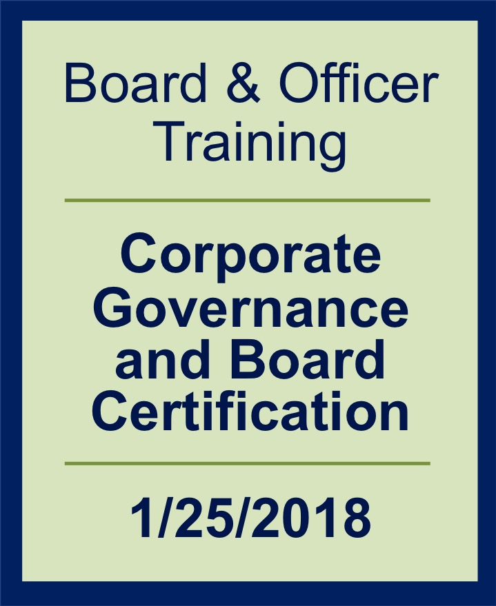 Webinar 2018 Board Officer Training Corporate Governance And
